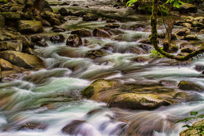 Flowing Water - Landscape - Mountain Stream Art Print by Barry Jones