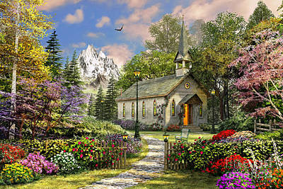 Benches Digital Art - Mountain View Chapel by Dominic Davison