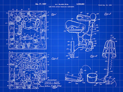 Ideals Digital Art - Mouse Trap Board Game Patent 1962 - Blue by Stephen Younts