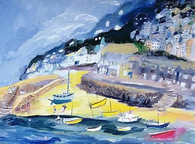 Mousehole, Cornwall, 2005 Acrylic On Board Art Print by Sophia Elliot