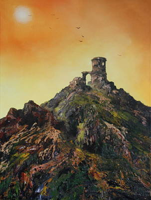 Mow-cop Painting - Mow Cop Castle Staffordshire by Jean Walker