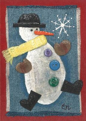 Mixed Media - Mr. Snowjangles by Carol Neal