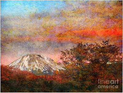 Mountain Sunset Mixed Media - Mt Lassen by Irina Hays