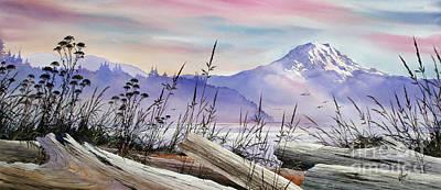 Mt. Rainier Driftwood Shore Art Print