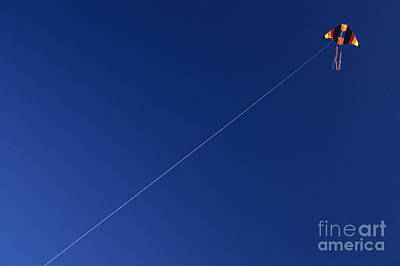 Photograph - Multicolored Kite In Blue Sky by Jim Corwin