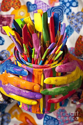 Paint Cans Photograph - Multicolored Painted Fingers Holding by Jim Corwin