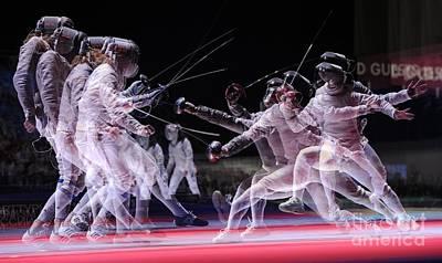 Swordsman Photograph - Multiple Exposure Of Fencers by Ria Novosti