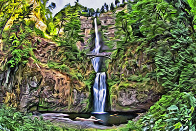 Digital Art - Multnomah Falls by Patrick M Lynch