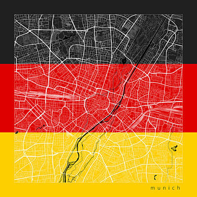 Flag Digital Art - Munich Street Map - Munich Germany Road Map Art On Flag by Jurq Studio