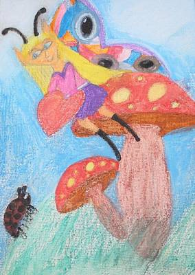 Ladybug Drawing - Mushroom Fairy Shows Her Heart by Connie Ann LaPointe