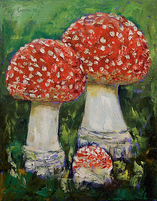 Impasto Oil Painting - Mushrooms by Michael Creese