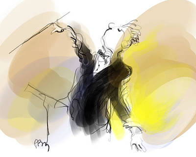 Digital Art - Music Conductor In Yellow by Paul Miller