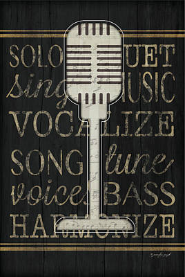 Music Microphone Art Print by Jennifer Pugh