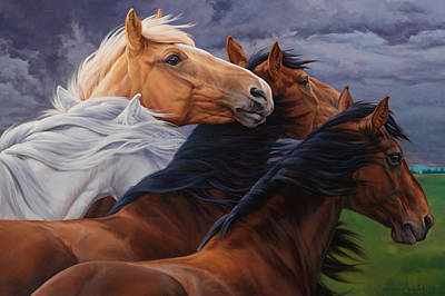 Horse Art Painting - Mutual Support by JQ Licensing