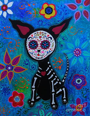 Mexican Sister Painting - My Chihuahua Dia De Los Muertos by Pristine Cartera Turkus