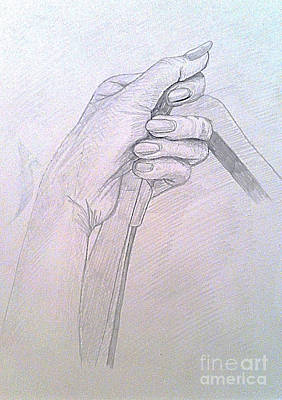 Drawing - My Left Hand by Michelle Deyna-Hayward