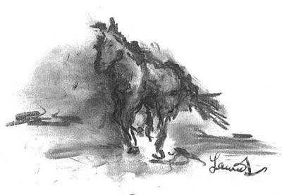 Drawing - My Stallion by Laurie L