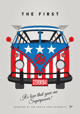 Super Hero Digital Art - My Superhero-vw-t1-captain America	 by Chungkong Art