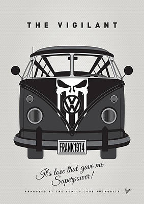 Bus Digital Art - My Superhero-vw-t1-punisher by Chungkong Art