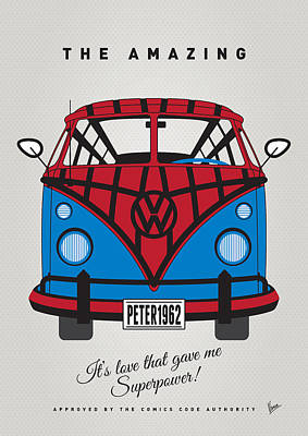 Digital Art - My Superhero-vw-t1-spiderman by Chungkong Art