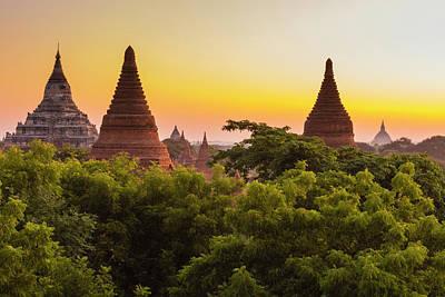 Myanmar Bagan Dawn Over The Plains Art Print