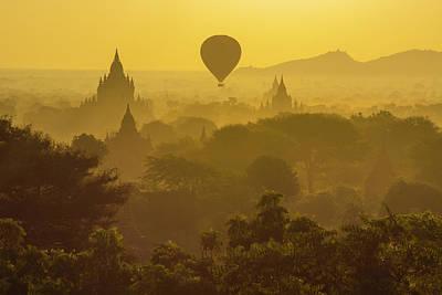 Burma Photograph - Myanmar Bagan Hot Air Balloons Rising by Inger Hogstrom
