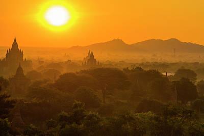 Myanmar Bagan Sunrise Over The Temples Art Print