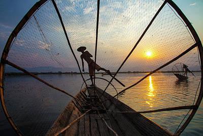Rowers Photograph - Myanmar, Inle Lake by Jaynes Gallery