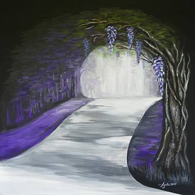 Art Print featuring the painting Mysterious Wisteria by Agata Lindquist