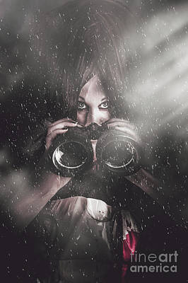 Comics Royalty-Free and Rights-Managed Images - Mystery killer woman spying in dark shadows by Jorgo Photography - Wall Art Gallery