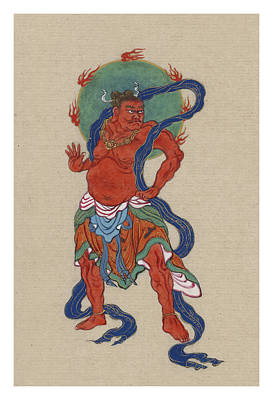 Icon Drawing - Mythological Buddhist Or Hindu Figure Circa 1878 by Aged Pixel