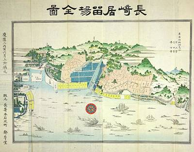 Map Of Japan Photograph - Nagasaki by British Library