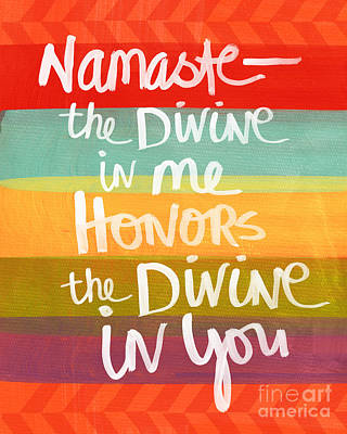Stripes Mixed Media - Namaste  by Linda Woods
