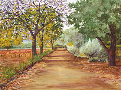 Napa Valley Vineyard Painting - Napa Valley Walk by Mark Meininger