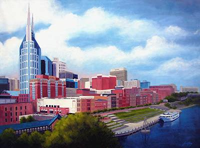 Cumberland River Painting - Nashville Skyline by Janet King