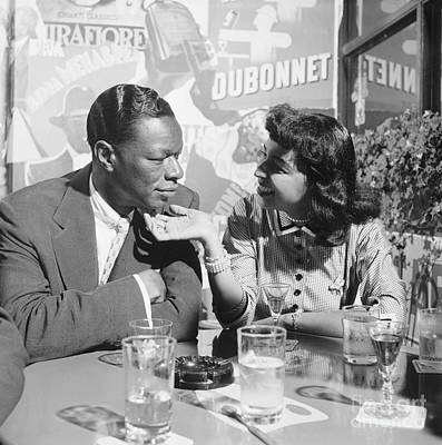 Two People Photograph - Nat King Cole And His Wife Maria 1954 by The Harrington Collection