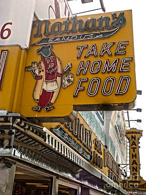 Photograph - Nathans Hot Dog Sign by Gregory Dyer
