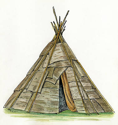 Pole Drawing - Native American Wigwam by Granger