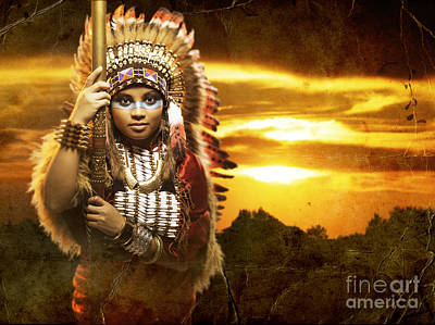 Native American Woman Original by Domenico Castaldo