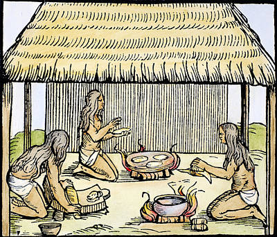 Loincloth Painting - Native Americans Making Bread by Granger