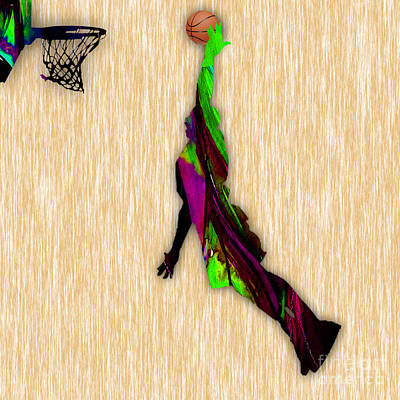 Mixed Media - Nba Basketball  by Marvin Blaine