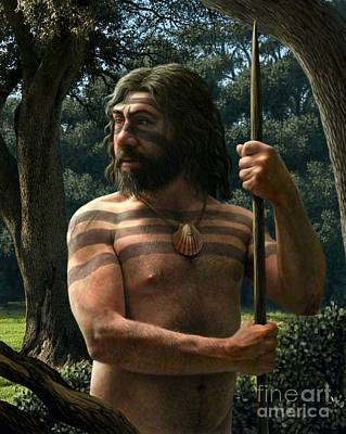 Wood Necklace Photograph - Neanderthal With Shell Ornament, Artwork by Mauricio Anton