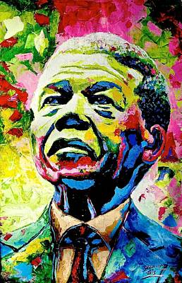 South African Artist Painting - Nelson Mandela by Evans Yegon