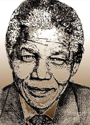 Digital Art - Nelson Mandela by J McCombie
