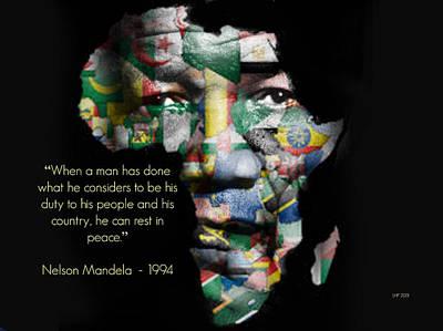 Nelson Mandela Art Print by Lynda Payton