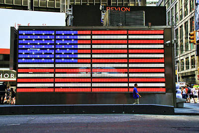 Photograph - Neon American Flag by Allen Beatty