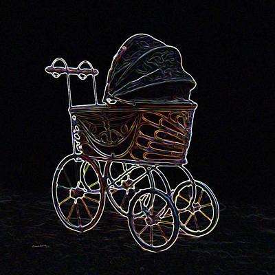 Old Stuff Digital Art - Neon Old Baby Carriage by Ernie Echols