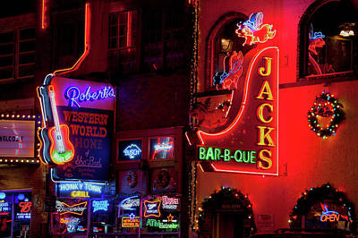 Downtown Nashville Photograph - Neon Signs On Lower Broadway Area by Panoramic Images
