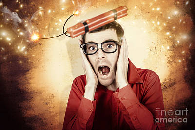 Sacrificial Photograph - Nerd Business Man Shouting Out In Fear Of A Bomb by Jorgo Photography - Wall Art Gallery