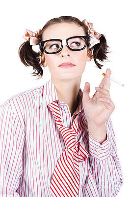 Ponytail Photograph - Nerd Girl Smoking by Jorgo Photography - Wall Art Gallery